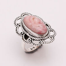 925 Sterling Silver Ring SZ US 7, Natural Rhodochrosite Gemstone Jewelry CR716