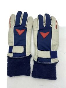 Dynastar Leather Ski Gloves Gray Blue Men's Small Wrist Adjust