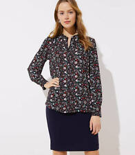 Ann Taylor LOFT Woven Top L Black Red Floral Puff Long Sleeve Button Down New