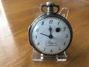 Nice Large French Verge Fusee Pocket Watch for Watchmaker, Square Pillars