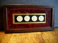 Antique Victorian Plaster Cast of Coins Mounted and Framed in Oak and Red Velvet