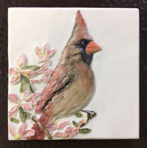 Cardinal Female Red Bird Bas-Relief Porcelain handmade tile Sondra Alexander Art