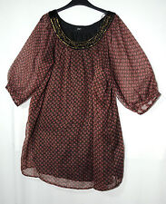 BROWN BLACK LADIES CASUAL TOP TUNIC  BLOUSE SIZE 14 F&F