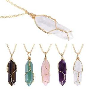 Wire-Wrapped Crystal Necklace Pendant with Chain Opalite Amethyst Gemstone Gift