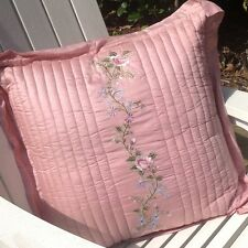 Shabby French Country Pink Silk Embroidered Rose Euro Sham Bed Pillowcase Cover