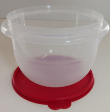 Tupperware Classic Mixing Sheer Flat Bottom Bowl w/ Holiday Red Seal 4 Cups New