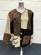 Indigo Moon Brown Patchwork Jacket Size 2XL BNWT