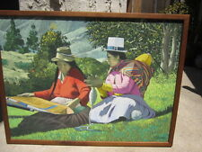 """Painting from Peru Arequipa Cuadro Buscar Signed Allende """"Spinners and Weavers"""""""