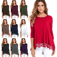Women's Long Sleeve Lace Swing Tops Casual Solid Loose Tunic Tee T-Shirt Blouse