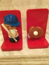 Vintage Book Ends by Pippin Hill Lacquer Red Baseball Theme Handmade