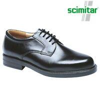 MENS Black Leather Plain Gibson Smart Formal Shoes - Size 6 7 8 9 10 11 12 13 14