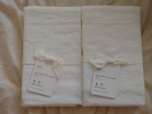 pottery barn BELGIAN FLAX LINEN 2 euro sham original $149 new white