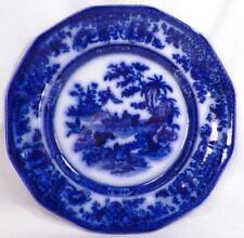 Tonquin Flow Blue Dinner Plate J Heath Antique Deep Flowing Color 9.5in