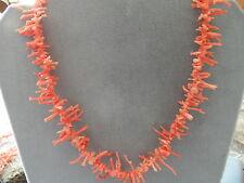 "Gorgeous Vintage Natural Agel skin Branch Coral  Necklace 16"""