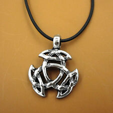 Celtic Knot Triquetra Trinity Pewter Pendant Norse Viking Choker Necklace