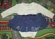 BABY GIRLS Sz 0000 grey & blue DYMPLES polkadot one-piece CUTE!