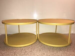 """2 Rubbermaid 10.5"""" Harvest Gold Tiered Turntables Spice Lazy Susan JB1 2709 11"""