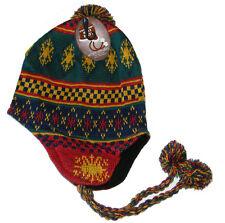 MENS PERU / PERUVIAN / INCA STYLE FAIRISLE BEANIE HAT - MULTICOLOURED BRIGHT