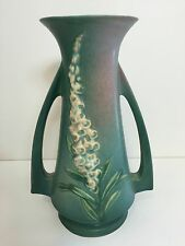 """Vintage Roseville Pottery USA 51-10 Foxglove Green Vase, 10 1/3"""" Tall x 7"""" Wide"""