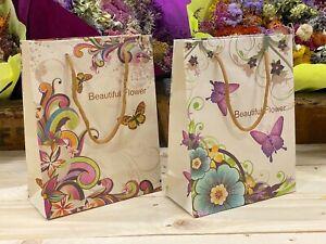 Bolsas para regalos cartón asas Mariposas Flores 48 Unidades 18 x 23 x 8 cm