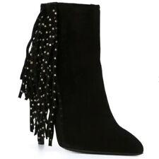 YSL SAINT LAURENT Black Ankle Fringe Booties Size 36.5