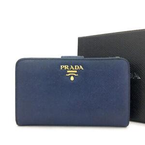 PRADA Saffiano Blue Leather Biifold Wallet Purse/ 82745
