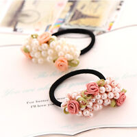 Little Flower & Beads Elastic Hair Accessories Band Ring Rope Ponytail Holder