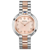 Bulova Quartz Women's Rubaiyat Sapphire Two-Tone Rose Gold 35mm Watch 98P174