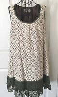 NWT a'reve Lace A Line Dress Sleeveless Lined Olive Green Ivory Size Large