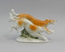 Porzellan Figur Springende Windhunde Borsoi Wagner & Apel 20x12cm 9942366