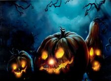 HAPPY HALLOWEEN LED Illuminated Bad Evil Pumpkin Gourd Horror Trio Canvas Sign