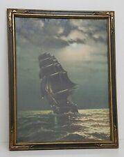 Antique 'Old Ironsides' Ship Lithograph Art Nouveau Frame 18x23