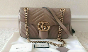 ++**Authentic Gucci GG Marmont Medium Beige Matelass¨| Leather Shoulder Bag