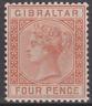 Gibraltar 1887 Mint Mounted 4d Orange Brown SG12 Cat £85 BARELY HINGED