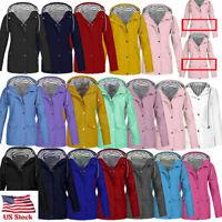 US Women Men Solid Rain Jacket Outdoor Plus Waterproof Hooded Raincoat Windproof