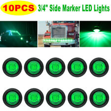 "10Pcs Green LED Mini Bullet Trailer Clearance Light 3/4"" Round Side Marker Lamp"
