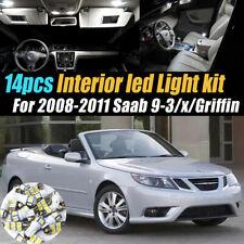 14Pc Super White Car Interior LED Light Kit for 2008-2011 Saab 9-3/x/Griffin