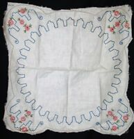 Vintage hand embroidery unfinished linen hemstitched embroidered textile