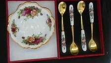 Boxed Set OF 4  Tea Spoons Good match for Royal Albert Old Country Roses UNUSED
