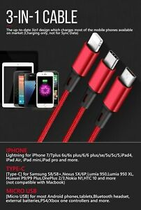3 in 1 Multi USB Charger Charging Cable Cord For Mobile Micro USB TYPE Android