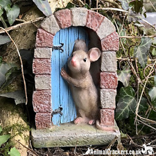 More details for heavy resin mouse doorway fairy garden door ornament decoration mice lover gift