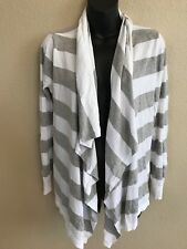 DKNYC Womens Cardigan Wrap Shrug Sweater Small Medium S/M White Gray Long Sleeve