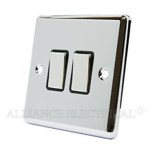 Polished Mirror Chrome Classical 2 Gang Switch -10 Amp CPC2GSWIBC