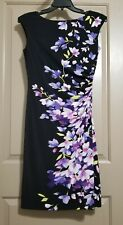 LAUREN RALPH LAUREN Black & Purple Floral Stretch Sheath Dress Sz 8 Ruched Lined