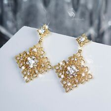 14k yellow gold made with clear Swarovski crystal filigree stud dangle earrings
