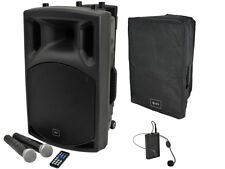QTX QX12PA Portable PA System Battery Bluetooth USB Sound 2 x Wireless Handheld