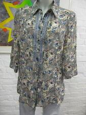ADAGIO wunderschöne Chiffon Long Bluse Tunika 40 Pastell Muster Floral, 3/4 Arm