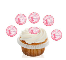 12 Pre Cut Pink 1st Birthday Princess Toppers Edible Cupcake Decorations