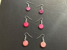 Handmade Shell Disc Earrings - Purple / Pink / Coral - Holiday - Gift - Xmas