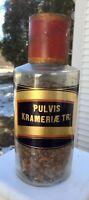 Antique French Apothecary Jar, Pulvis Krameriae Tr: Tole Cap, Beautiful Label